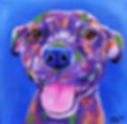 Staffy dog painting, Smiling staffy, Dog art, Pet portraits, Evei Art, Eve Izzett