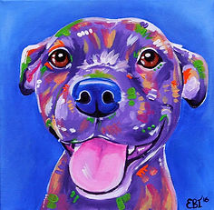 Staffy dog painting, Smiling staffy, Dog art, Pet portraits, Evei Art, Eve Izzett