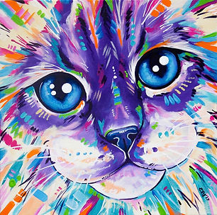 Ragdoll Cat painting, Pet art, Animal artists, Custom Pet portraits, Evei Art, Eve Izzett