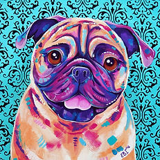 Pug painting, Custom art, Pet portraits, Evei Art, Eve Izzett