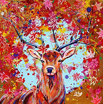 Fantasy animal art, Red deer painting, Animal artists, Evei Art, Eve Izzett