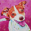 Pink, Jack Russell, Dog painting, Pet art, Evei Art, Eve Izzett