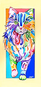 Rainbow cat painting, Colourful Pet Portraits, Pet Portraits from Photos, Evei Art, Eve Izzett