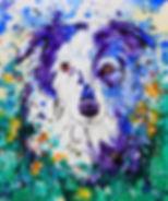 Border Collie, Custom pet portraits, Dog art, Dog, Flowers, Evei Art, Eve Izzett