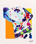 Dalmatian, Dalmatian with painted spots, Dog painting, Evei Art, Eve Izzett