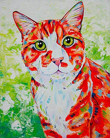 Cat, Ginger Cat, Cat painting, Pet portraits, Pet portraits from photos, Eve Izzett, Evei Art
