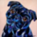 Pug dog, Black pug painting, Pet portrait, Evei Art, Eve Izzett