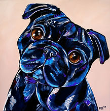 Pug dog, Black pug painting, Pet portrait, Evei Art, Eve Izzett