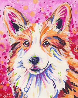 Corgi, Corgi dog, Pink, Colorfu, Pet portraits, Evei Art, Eve Izzett