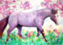Horse and cherry tree painting, Horse art, Custom horse art, Pet portraits online, Eve Izzett, Evei Art