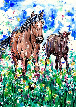 Mare and foal painting, Watercolour horse art, Horse art, Animal artists, Eve Izzett, Evei Art