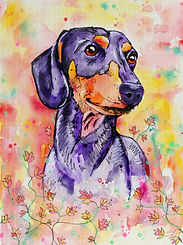 Sausage dog painting, Dachshund, Dog art, Custom dog painting, Evei Art, Eve Izzett