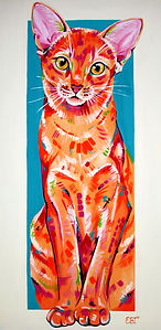 Custom cat portrait from photograph, australia and international.  Abbysinian cat painting. Cat portraits online.