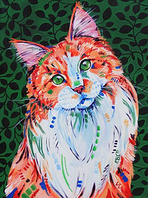 Ginger cat painting, Custom cat art, Pet portraits, Evei Art, Eve Izzett