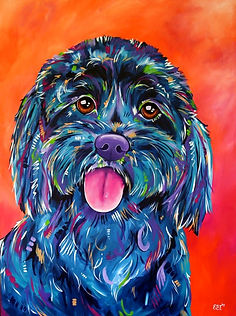 Dog, Black dog painting, Animal artist, Animal portraits, Evei Art, Eve Izzett