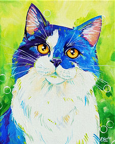 Cat painting, Colourful pet art, Custom cat portraits, Evei Art, Eve Izzett