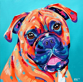 Boxer dog, Pet art, Pet portraits Australia, Pet portrait from photographs, Evei Art, Eve Izzett