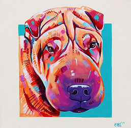 Shar pei, Dog painting, dog portrait, Paintigs of animals, Evei Art, Eve Izzett