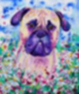 Evei Art, Eve Izzett, Pet portrait, Dog, Dog in Flowers, Painting