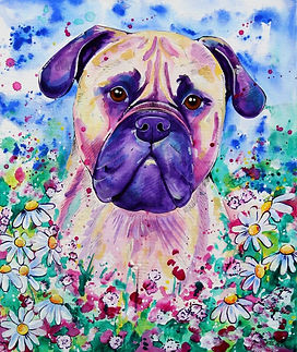 Evei Art, Eve Izzett, Pet portrait, Dog, Dog in Flowers, Painting