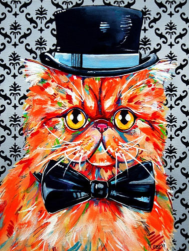 Persian cat painting, Cat dress ups, Ginger persian cat, Pet portraits, Evei Art, Eve Izzett