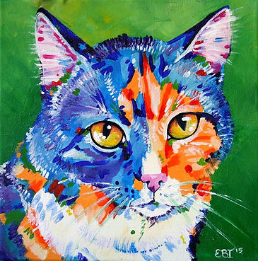 Custom cat paintings from photos, Pet portraits, Australian artists, Animal artists, Evei Art, Eve Izzett