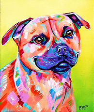 Staffy painting, custom pet portraits, Staffordshire Bullterrier, Evei Art, Eve Izzett