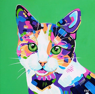 Abstract Cat painting, Colourful pet portraits, Animal Art, Australian Artists, Evei Art, Eve Izzett