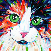 Cat artwork, Cat portraits, Animal paintings, Evei Art, Eve Izzett