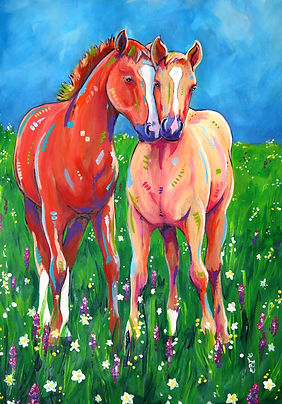 Horse painting, Palamino foal, Custom horse art, Horse painting from photos, Evei Art, Eve Izzett