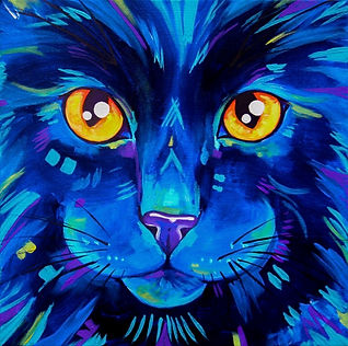 Black cat art, Abstract Cat art, Colourful pet portraits, Evei Art, Eve Izzett