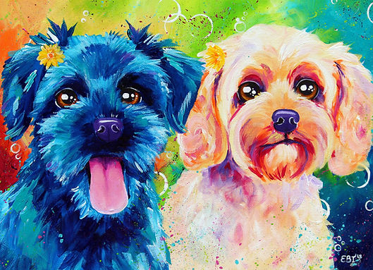 Dog art, Colorful pet portraits, Pet portraits Australia, Evei Art, Eve Izzett