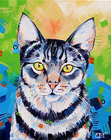Cat, Order pet portraits online, Colorful Pet Portraits, Evei Art, Eve Izzett