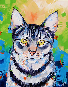 Tabby cat painting, Custom pet portraits, Pet portraits Australia, Pet portraits from photos, Evei Art, Eve Izzett