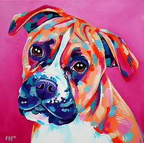 Boxer dog painting, Order pet portraits online, Evei Art, Eve Izzett