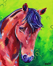 Bay horse paining, custom horse portraits, Pet portraits Australia, Evei Art, Eve Izzett