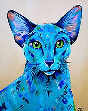 Oriental Cat, Cat painting, Pet Portraits, Custom Pet Portraits, Evei Art, Eve Izzett