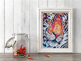 Tiger art print, unique bright decor.
