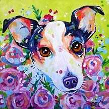 Jack Russell, Puppy, Roses, Animal Artists, Dog Painting, Evei Art, Eve Izzett