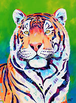 Colourful tiger painting, Custom artwork, Animal artists, Australian Artists, Evei Art, Eve Izzett