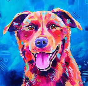 Kelpie dog, Dog art, Dog painting, Custom pet portrait, Evei Art, Eve Izzett
