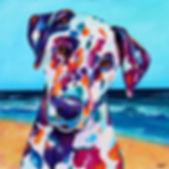 Dalmatian, Dog, Dog panting, Pet portrait from photographs, dog on the beach, Evei Art, Eve Izzett