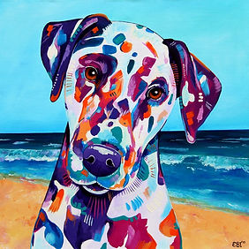 Dalmatian, Dog, Dog panting, Pet portrait from photographs, dog on the beach, Evei Art, Eve Izzett