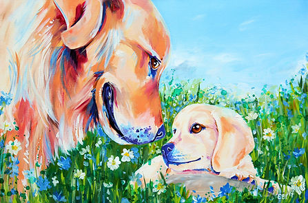 Golden retriever, Labrador, Dog, Custom pet portraits, Evei Art, Eve Izzett
