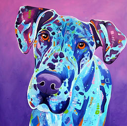 Merle Great Dane, Great Dane painting, Dog Art, Evei Art, Eve Izzett
