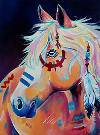 Indian war horse painting, Horse artwork, Custom horse art, Pet portraits from photos in Australia, Evei Art, Eve Izzett