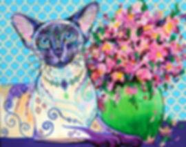 Siamese cat painting, pet portraits australia, custom pet portraits, Evei Art, Eve Izzett