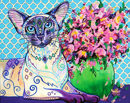 Siamese cat painting, pet portraits australia, custom pet portraits, Evei Art, Eve Izzett
