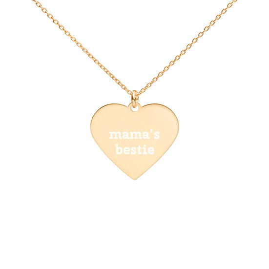 Mama's Bestie Engraved Heart Necklace