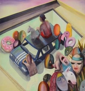 pool_party_rooftop_chris_akordalitis_painting_modern_art_artist